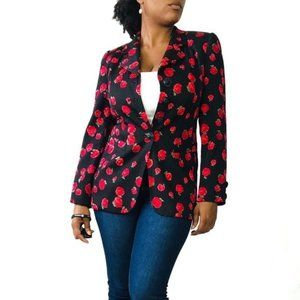 Rena Lange 100% Silk Rose Print blazer Red & Black